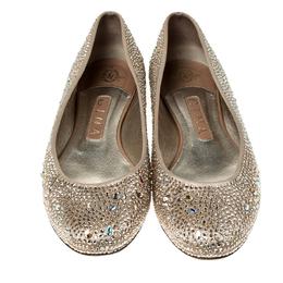 Gina Beige Crystal Embellished Satin Ballet Flats Size 39.5 236180