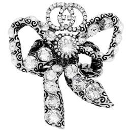 Gucci Silver Crystal Bow Ring 192451F02400102GB