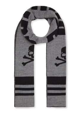 Серый шарф с крупным логотипом Philipp Plein Kids 2714159321