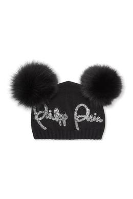 Черная шапка с помпонами Philipp Plein Kids 2714159275