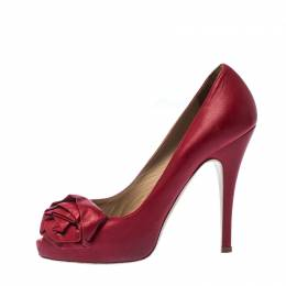 Valentino Red Leather Rose Accented Peep Toe Pumps Size 36