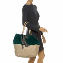 Chloe Green/Grey Suede and Leather Tassel Bucket Shoulder Bag 233171
