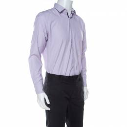 Boss by Hugo Boss Lilac Pinstriped Cotton Joey Shirt L 237191