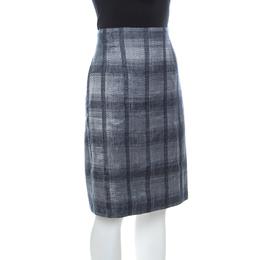 Emporio Armani Navy Blue and Grey Checkered Jacquard Pencil Skirt L 237192