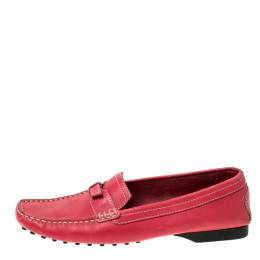 Tod's Pink Leather Buckle Detail Slip On Loafers Size 37.5 236142