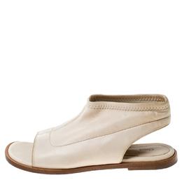 Chloe Beige Leather Slingback Flat Sandals Size 38 237506