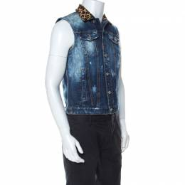 Dsquared2 Blue Denim Distressed Detail Horsehair Collar Vest Jacket M