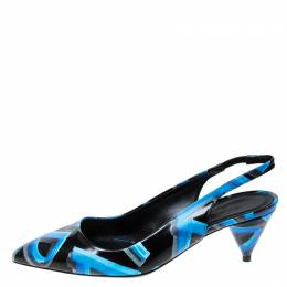 Burberry Black/Blue Leather Morson Slingback Sandals Size 38 237429