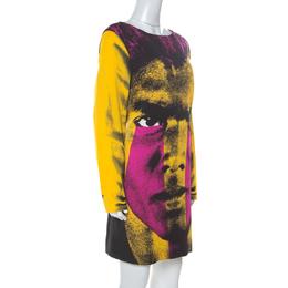 Moschino Couture Multicolor Crepe Face Print Shift Dress L 236637