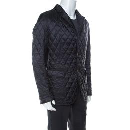 Salvatore Ferragamo Black Diamond Quilted and Rib Knit Jacket L 237172
