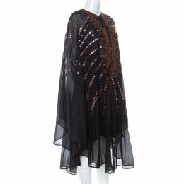 Emilio Pucci Black Mirror Embellished Silk Blend Kaftan Dress S 234718