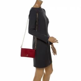 Tory Burch Red Leather Robinson Chain Crossbody Bag