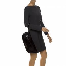 Dior Black Croc Patent Leather Oversized Wristlet Clutch 233168