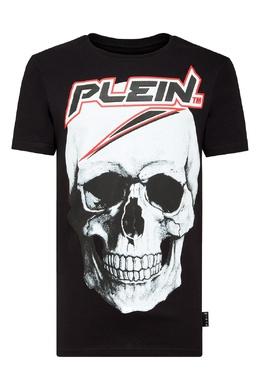 Черная футболка с черепом и контрастной надписью Philipp Plein 1795159537