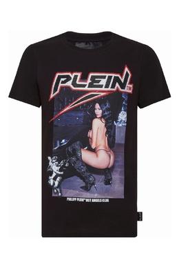 Черная футболка с надписью на спине и принтом на груди Philipp Plein 1795159475
