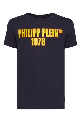 Чернильная футболка с желтой надписью Philipp Plein 1795159467