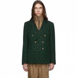 Gucci Green GG Striped Signoria Blazer 574367 ZABJ0