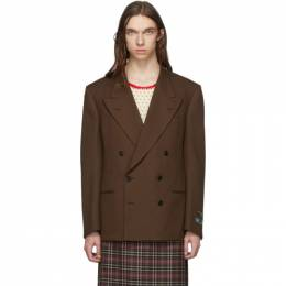 Gucci Brown Double-Breasted Fluid Blazer 586745 Z798C