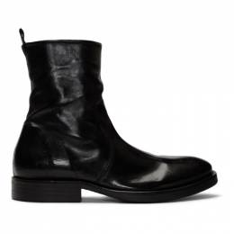 Officine Generale Black Washed Leather Zip-Up Boots W19MSHS312