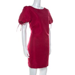 Red Valentino Raspberry Red Tonal Jacquard Puff Sleeve Dress L 237500