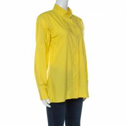 Hermes Yellow Cotton Stand Up Collar Button Front Shirt M 237794