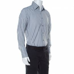 Armani Collezioni Grey Striped Cotton Blend Shirt M 236633