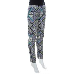 Matthew Williamson Multicolor Abstract Print Cotton Zip Detail Pants M 236177