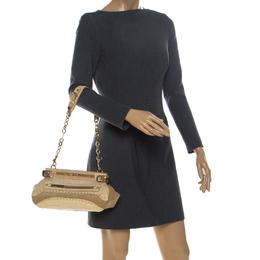 Versace Cream Crocodile Embossed Leather Studded Frame Shoulder Bag 234542