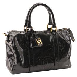 Chanel Black Patent Leather Vintage CC Boston Bag 281135