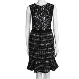 Ch Carolina Herrera Monochrome Lace and Tweed Sleeveless Dress L 95869