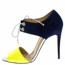 Christian Louboutin Two Tone Leather and Suede Mayerling Lace-Up Sandals Size 38 303238