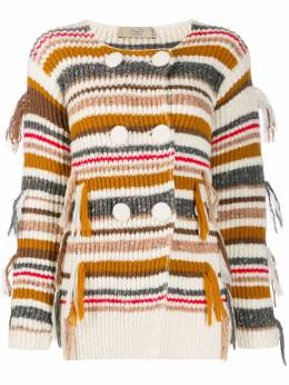 Maison Flaneur striped double-breasted cardigan 19WMDSW550FY049