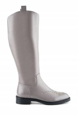 Серые кожаные сапоги с металлическим декором Portal 2659160569