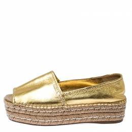 Prada Metallic Gold Leather Open Toe Platform Espadrilles Size 38.5 235317