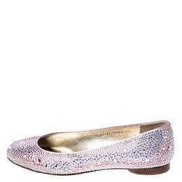 Gina Pink Crystal Embellished Satin Ballet Flats Size 37.5 234741