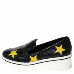 Stella McCartney Python Embossed Faux Leather Binx Star Platform Slip On Sneakers Size 39 237406