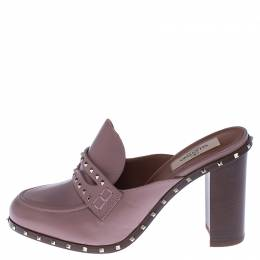 Valentino Pale Pink Leather Rockstud Penny Loafer Mules Size 38 238050