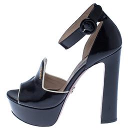 Prada Black Patent Leather Ankle Strap Platform Sandals Size 37 238051