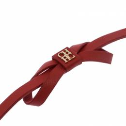 Ch Carolina Herrera Red Leather Ribbon Bracelet