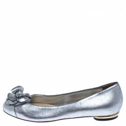 Chanel Metallic Silver Leather Camellia Embossed Ballet Flats Size 38.5 238041