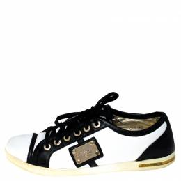Dolce&Gabbana White/Black Leather Lace Up Low Top Sneakers Size 40 237250