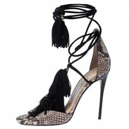 Jimmy Choo Brown Python Leather Mindy Fringe Ankle Wrap Sandals Size 38 237399