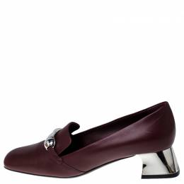 Burberry Maroon Leather Amika Embellished Pumps Size 40 237394