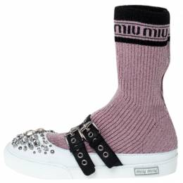 Miu Miu Pink Fabric And White Leather Embellished Buckle Detail Sock Sneakers Size 40 237388