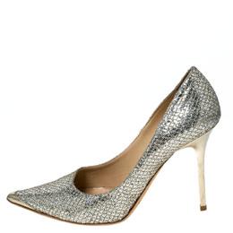 Jimmy Choo Metallic Lamè Glitter Abel Pointed Toe Pumps Size 36.5