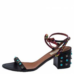 Valentino Black Leather And Fabric Studded Heel Ankle Strap Sandals Size 38.5 233353