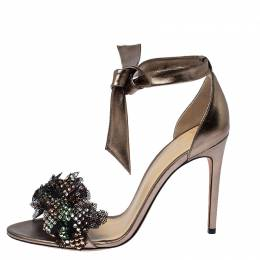 Alexander Birman Bronze Patent Leather and Mesh Clarita Show Embellished Ankle Tie Sandals Size 40.5 Alexandre Birman