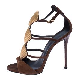Giuseppe Zanotti Design Suede Leather Embellished Seashell Strappy Sandals Size 38 233238