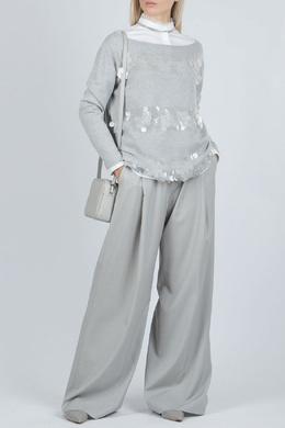 Серый джемпер с прозрачной отделкой Fabiana Filippi 2658160936