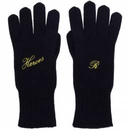Raf Simons Navy Cashmere Heroes Gloves 192-846 50006